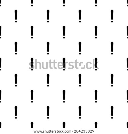 Seamless pattern of exclamation marks colored black white background. Vector illustration. Editable can be used for web page backgrounds, pattern fills - stock vector