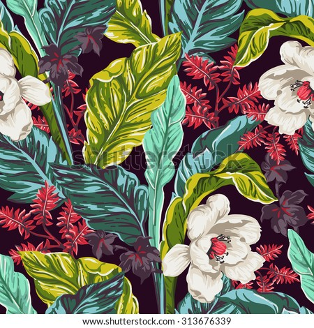 seamless pattern of exotic flower and leaves - stock vector
