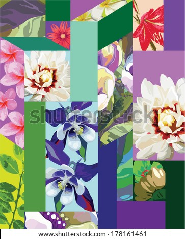 seamless pattern of exotic flowers - stock vector