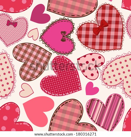 Seamless pattern of fancy red pink heart patchworks  - stock vector