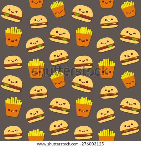 Seamless pattern of fast food: burgers and french fries with cute smiley faces. - stock vector