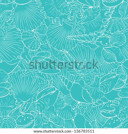 Seamless pattern of fine sea shells - stock vector