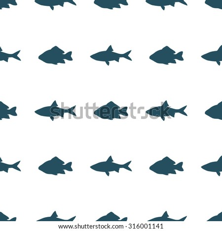 Seamless pattern of fish on a transparent background. Vector illustration  - stock vector
