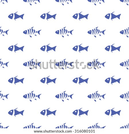 Seamless pattern of fish on transparent background. Vector illustration  - stock vector