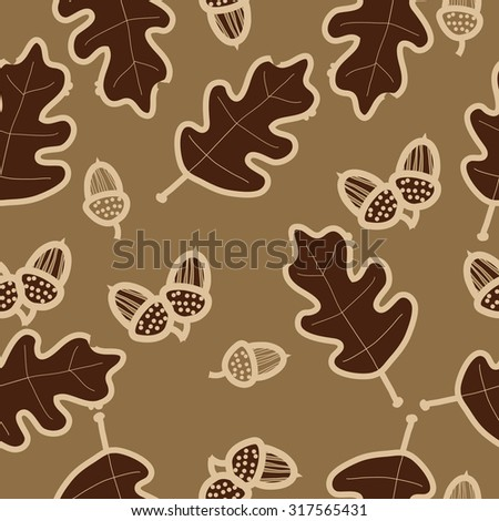 Seamless   pattern of floral motif, ellipses, leaves, oak, autumn theme, doodles. Hand drawn.