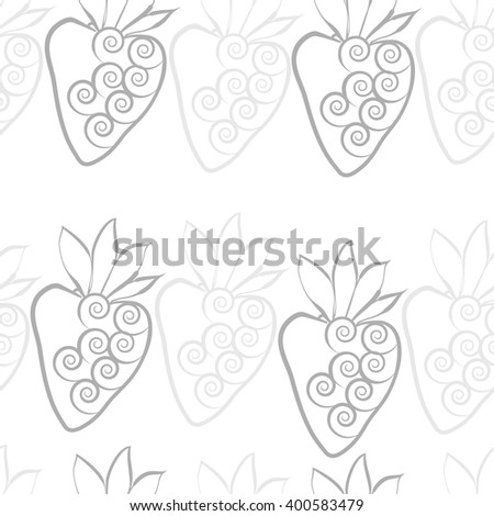 Seamless  pattern of floral motif,strawberry, object,leaves, spirals,fruit. Hand drawn.