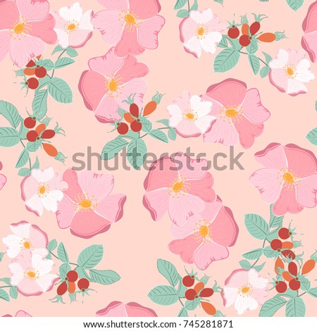 Seamless Pattern Of Floral Ornament Beautiful Rose Hip For Wallpaper Background In Vintage Style Print