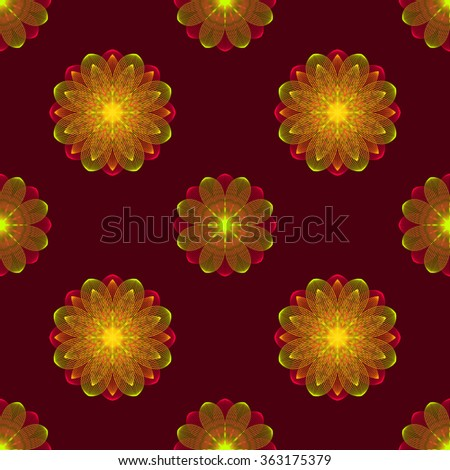 Seamless pattern of floral ornament on a burgundy background. Vector illustration. - stock vector