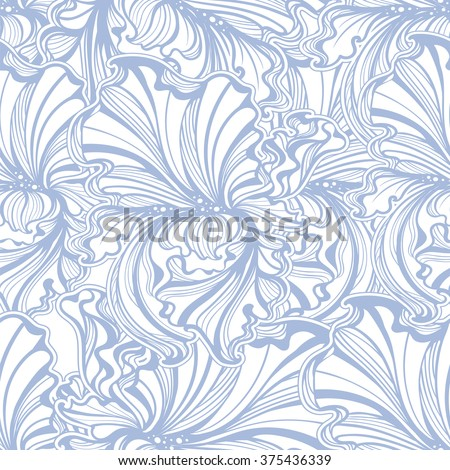 seamless pattern of flowers and leaves of irises in vintage style Art Nouveau - stock vector