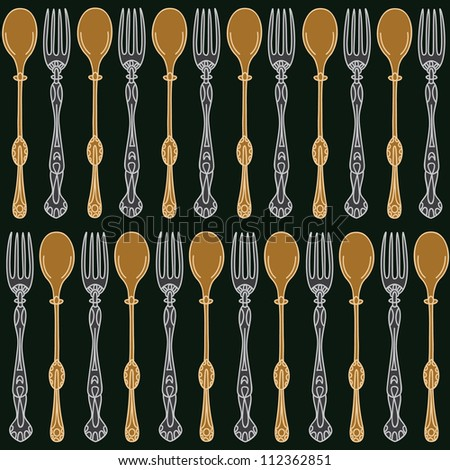 Seamless pattern of forks and spoons. Vector illustration with silver fork and gold spoon - stock vector