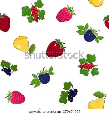 Seamless Pattern of Fresh Ripe Fruits and Berries,  Fruit Pattern, Berry Pattern, Vector Illustration - stock vector