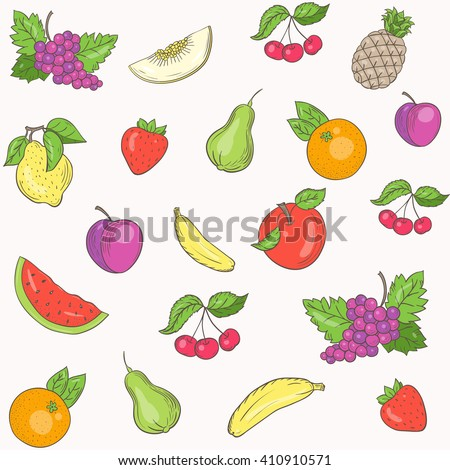 Seamless pattern of fruit abundance.