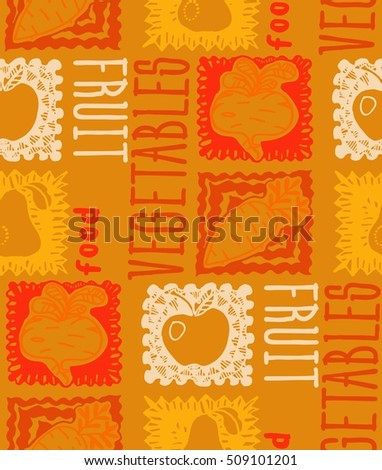 Seamless pattern of fruit and vegetables