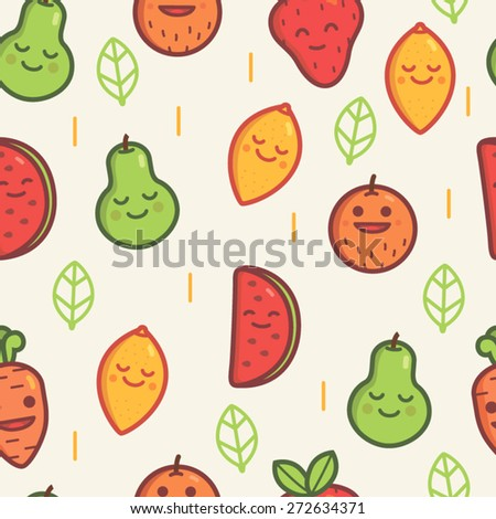 seamless pattern of fruits - stock vector