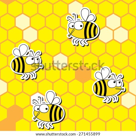 Seamless pattern of funny bees on honeycomb background.