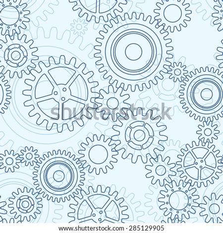 Seamless pattern of gear wheels, black on light blue - stock vector