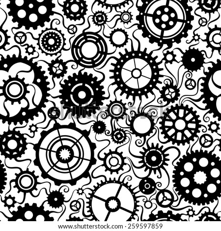 Seamless pattern of gears. Set of various black gears on white background.  - stock vector