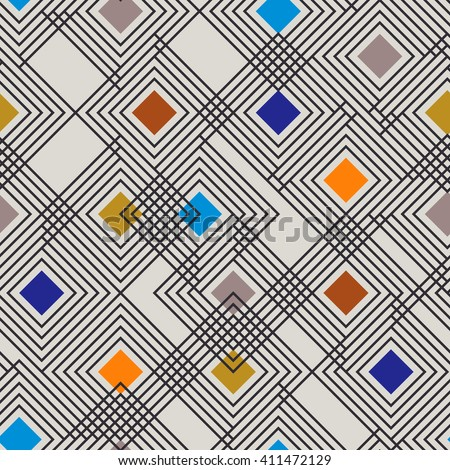 Seamless pattern of geometric shapes. Geometric abstract background with stripes and rhombus.