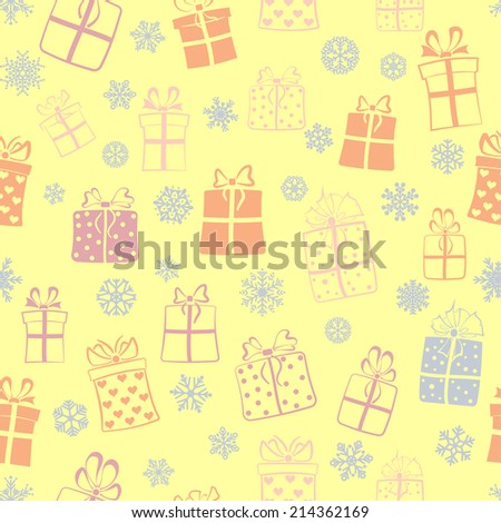 Seamless pattern of gift boxes and snowflakes, multicolored on yellow - stock vector