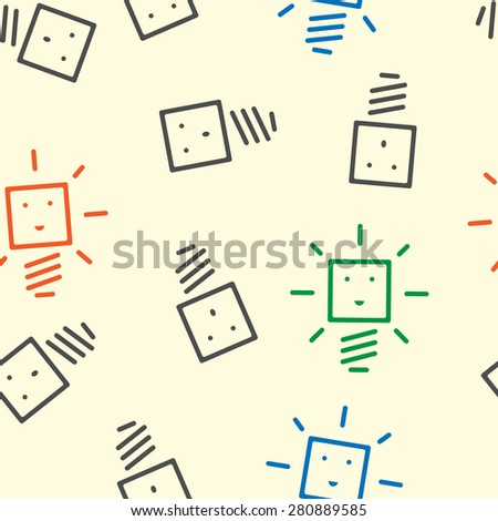 Seamless pattern of glowing and dull light bulb characters of various colors. Creativity, innovation, technology, insight, inspiration, success concept. EPS 10 vector illustration, no transparency - stock vector