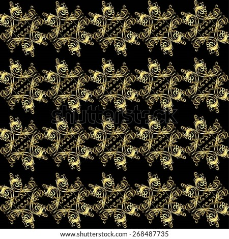 Seamless pattern of golden flowers on a black background. - stock vector