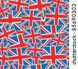 seamless pattern of great britain flags with clipping path - stock vector
