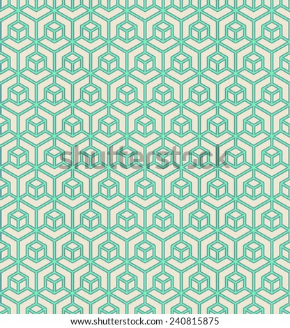 seamless pattern of green geometric block outlines. - stock vector