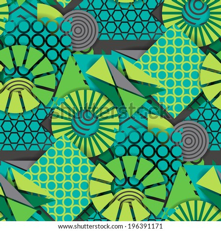 Seamless pattern of  green geometric shapes - stock vector
