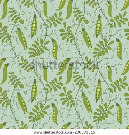 Seamless pattern of green peas. - stock vector