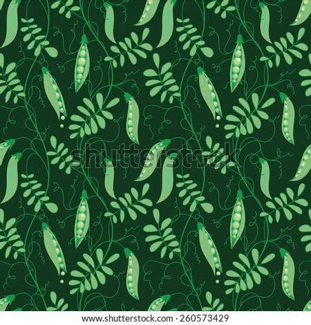 Seamless pattern of green peas on dark background. - stock vector