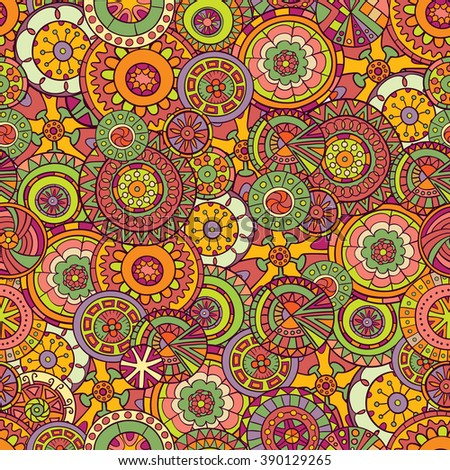 Seamless pattern of hand-drawn and painted mandalas. Vector graphics.