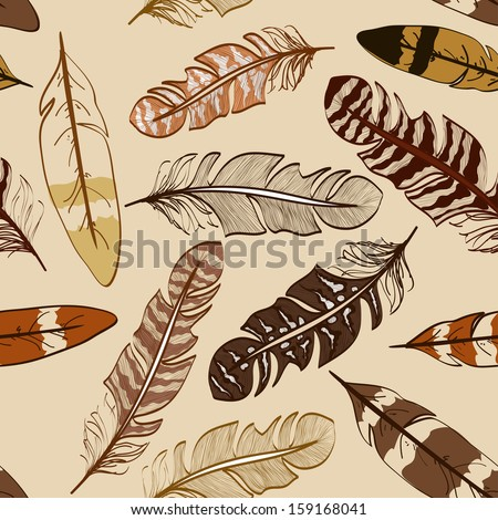 Seamless pattern of hand drawn bird feathers - stock vector
