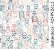 Seamless pattern of hand drawn people faces. Vector illustration of crowd of people - stock vector