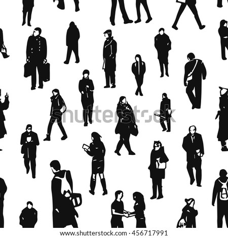Seamless pattern of hand drawn people's figures. Different characters and poses on white background.