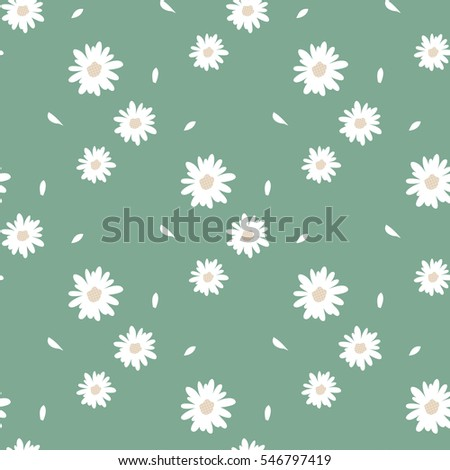 Seamless Pattern of Hand Drawn Sweet Flowers