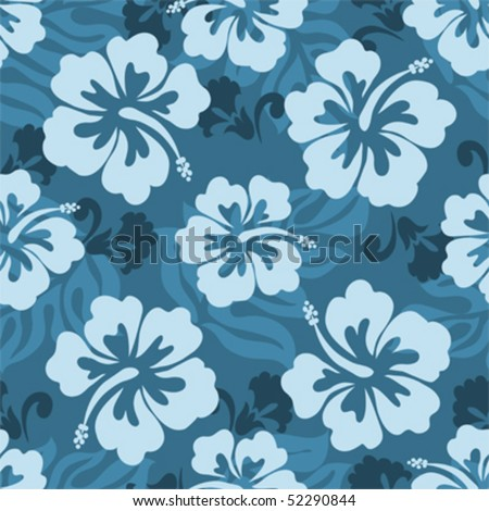 Seamless pattern of Hawaiian Hibiscus flowers and leaves