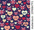 Seamless pattern of heart - stock vector