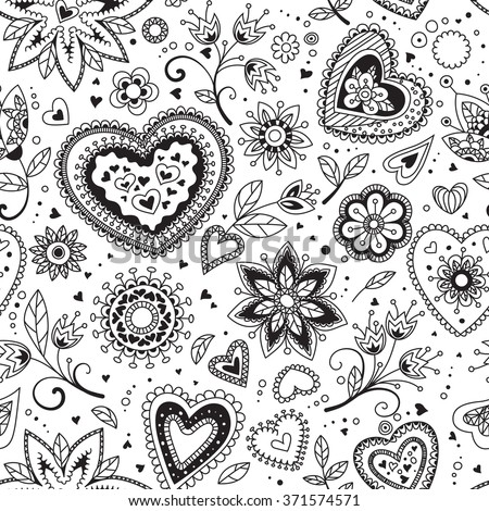 Seamless pattern of hearts as love background for Valentine's day
