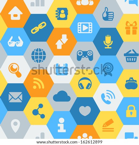 Seamless pattern of hexagons with icons of social communication