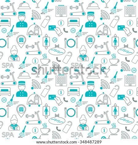 Seamless pattern of hotel service. Flat design. Vector illustration - stock vector