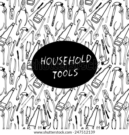 seamless pattern of household tools and black icon on it - stock vector