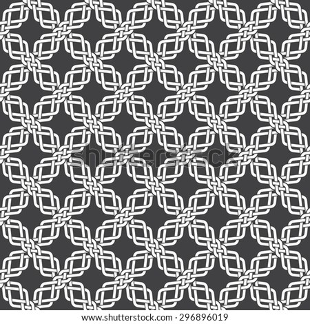 Seamless pattern of intersecting braids with swatch for filling. Celtic ornament texture. Fashion geometric background for web or printing design. - stock vector