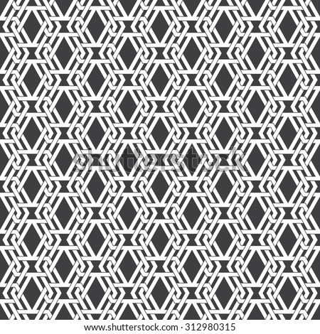 Seamless pattern of intersecting sophisticated geometric shapes. Celtic chain mail. Fashion background for web or printing design. Swatches are attached. - stock vector