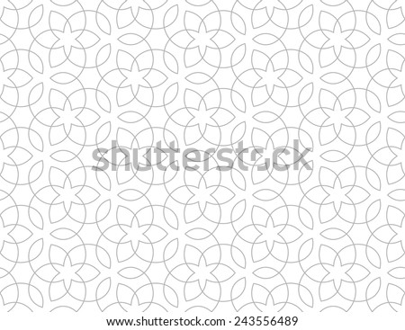 Seamless pattern of intersecting thin grey lines on white background. Abstract seamless ornament. - stock vector