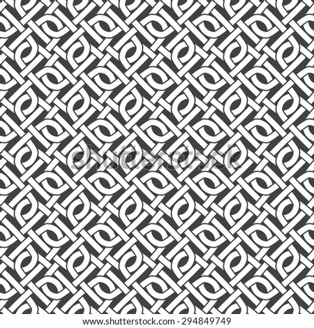 Seamless pattern of intersecting zeros with swatch for filling. Celtic chain mail. Fashion geometric background for web or printing design. - stock vector