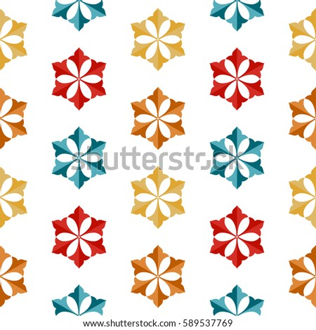 Seamless pattern of Islamic floral ornament of palm leaf, repeated in shape of hexagon. Decorative colorful trellis print. Vector Illustration.