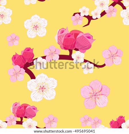 seamless pattern of Japanese of the cherry blossoms branches with buds vector illustration