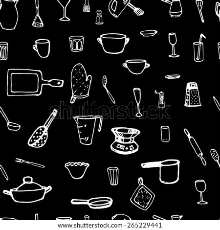 Seamless pattern of kitchen equipment and utensils.  Black and white.vector illustration - stock vector