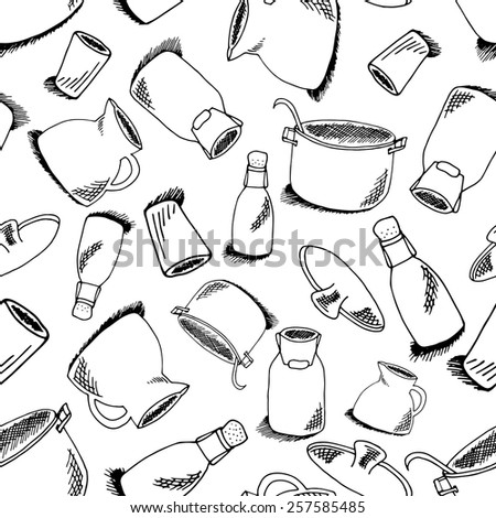 Seamless pattern of kitchen objects: bottle, water-can, glass, pot, pan. Illustration of crockery isolated on white background - stock vector