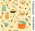 Seamless Pattern of Kitchen utensil in Retro-Styled - stock vector